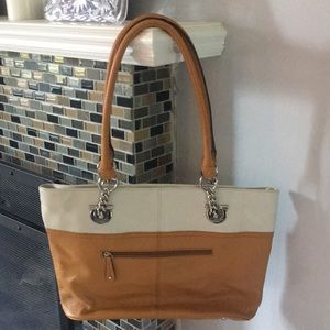 Camel and cream two tone purse